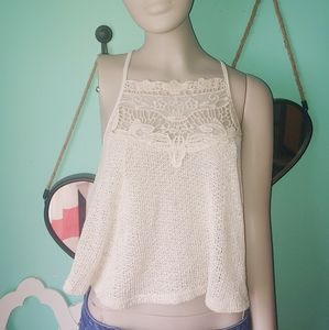 Rue 21 cream knitted lace illusion crop top